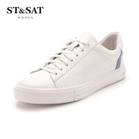 星期六(ST&SAT) 2019年春季专柜同款牛皮革休闲百搭小白鞋SS91112050