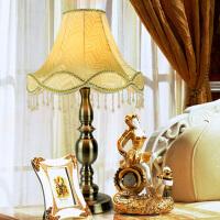 欧式复古台灯 田园可调光台灯客厅卧室床头灯青古铜遥控