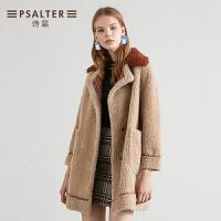 诗篇女装2018冬季新款时尚拼接格子羊剪绒大衣毛呢女外套