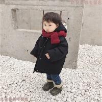 儿童外套保暖宝宝加绒加厚冬装中长款男童连帽棉衣潮女童韩版