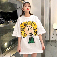 夏季女装韩版宽松卡通可爱学院风中长款短袖T恤学生打底衫上衣潮