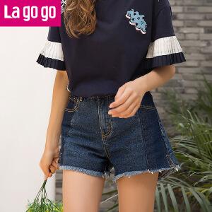 【清仓3折价59.7】Lagogo2019夏季新款牛仔短裤裤女高腰薄款女士裤子牛仔裤夏装