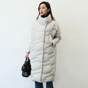 yaloo/雅鹿韩版女装立领显瘦暗扣中长款面包服轻薄保暖羽绒服潮