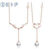 佐卡伊18K金钻石项链锁骨链牌珍珠吊坠圣诞节送女友礼物一鹿有你