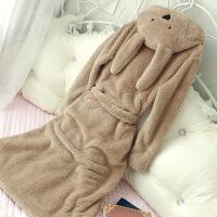 睡袍女冬珊瑚绒睡衣女秋韩版加厚加长款浴袍甜美可爱秋冬长款冬季