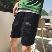 夏季新品个性潮流磨破休闲短裤男韩版青少年松紧破洞五分沙滩裤潮
