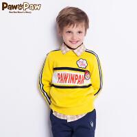 【3件3折 到手价:149】Pawinpaw卡通小熊童装秋男童长袖毛衣中小童字母毛衣