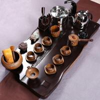 黑檀木制四合一功夫茶具陶瓷器整套装家用办公室创意大号茶盘茶道