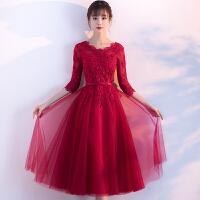 敬酒服新娘2018新款春夏季中长款红色结婚晚礼服回门连衣裙显瘦女