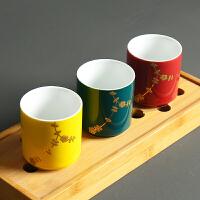 陶瓷茶具手绘描金直口红绿茶花茶普洱彩色个人斗笠品茗杯