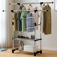 落地折叠不锈钢升降挂衣服架阳台伸缩晒衣架双杆式室内