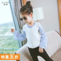 女童上衣2018春秋女孩打底衫中大童衬衫韩版时尚假两件休闲t恤杉