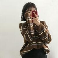 条纹针织毛衣女宽松长袖保暖打底上衣早春新款学生外套潮