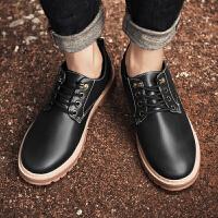 马丁鞋男低帮韩版青年秋季大头休闲皮鞋男英伦百搭系带工装皮鞋