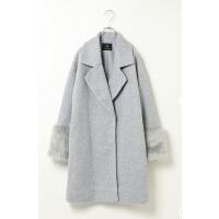 O07113精品秋冬新款两粒按扣显瘦好搭配纯色中长毛保暖呢外套