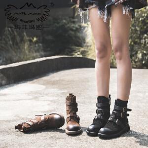 靴子女秋季新款短靴短筒圆头单靴中跟平底侧拉链皮带扣马丁靴5751-29