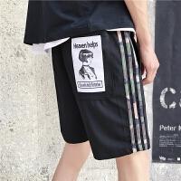 2018夏季新款男士休闲裤子条纹织带贴布五分裤韩版直筒潮男生短裤