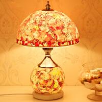 欧式台灯卧室床头灯婚庆客厅装饰田园温馨红色玻璃