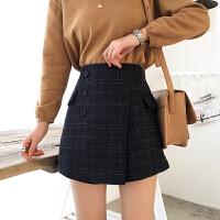2018春装韩版修身双排扣格子A字包臀裙 显瘦高腰复古半身裙女裙裤