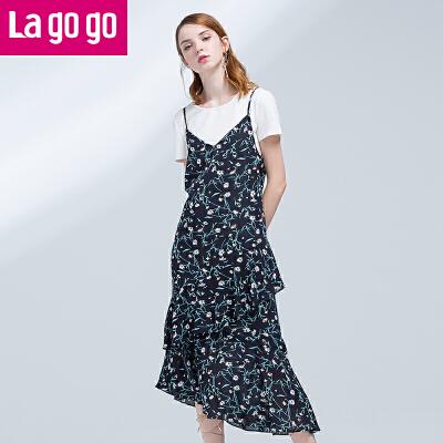 【商场同款】Lagogo/拉谷谷2017夏季新款直筒印花圆领连衣裙两件套GALL855F48