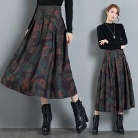 高腰中长款半身裙秋冬新款民族风女装百搭中国风复古毛呢裙子