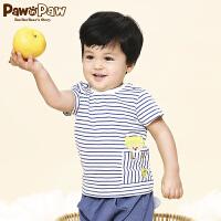 【1件3折 到手价:77】Pawinpaw卡通小熊童装夏款婴幼儿新款男女宝宝同款圆领条纹T