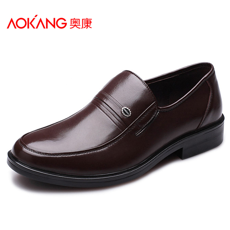 奥康男鞋正品 新款商务休闲牛皮鞋子 男士套脚真皮透气中年爸爸鞋