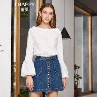 海贝2018春季新款女装上衣 大圆领长袖喇叭袖白色纯棉衬衫小衫