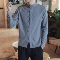 中国风男装大码长袖盘扣亚麻衬衫男衬衣色棉麻中式唐装修身秋季