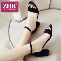 【掌柜推荐】ZHR 2019夏季新款一字扣粗跟女鞋软妹凉鞋复古chic仙女韩版鞋子