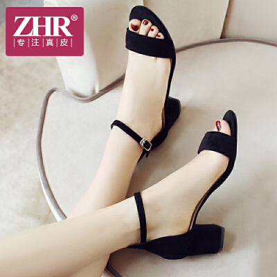 ZHR2018夏季新款一字扣粗跟女鞋软妹凉鞋复古chic仙女韩版鞋子F79