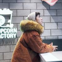 冬季毛领连帽中长款大衣男胖子加大码棉衣加棉保暖时尚韩版外套潮