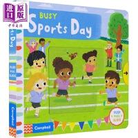 【中商原版】繁忙的校运会 Busy Sports Day Busy Book系列 低幼启蒙纸板书 机关操作书 启蒙科普