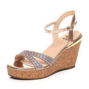 Tata/他她2017夏季专柜同款牛皮水钻亮片坡跟女皮凉鞋2A2B1BL7