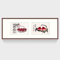 【】现代中式餐厅国画 客厅装饰画齐白石挂画 益寿延年SN8444 单幅60*80/双联60*160 按拍下颜色发货