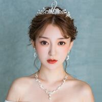 新娘头饰2018新款天鹅水钻皇冠结婚韩式项链耳环套装发饰婚纱饰品