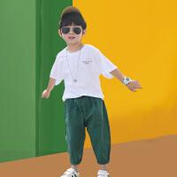 2021新款夏季男童套装中大童韩版帅气休闲短袖两件套洋气潮