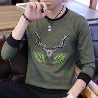 男士长袖t恤学生修身刺绣鹿皮绒卫衣韩版潮流体恤男士衣服打底衫