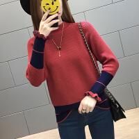 2018新款荷叶袖套头加厚女士毛衣短款色打底衫秋冬季时尚百搭潮 半高领-砖