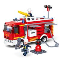 小鲁班 小颗粒拼装拼插积木儿童玩具城市消防系列救火英雄登高云梯车消防船模型儿童节礼物