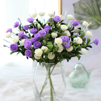 田园风格单支玫瑰花 假花仿真花餐桌花束 客厅花瓶摆件家居装饰品