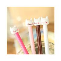 港升 韩国文具可爱猫咪中性笔创意卡通黑色水笔水性笔 针管笔