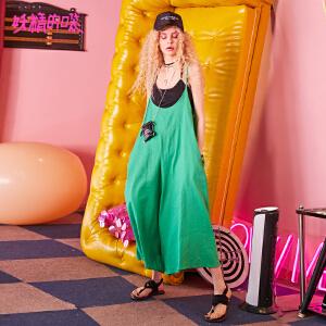 妖精的口袋休闲背带裤2018新款ulzzang宽松长款吊带裤子女