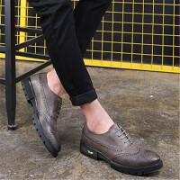 DAZED CONFUSED男士商务正装皮鞋青年潮厚底松糕鞋2017秋季新款休闲雕花布洛克