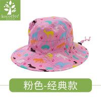 夏季防晒帽儿童遮阳帽太阳帽女童渔夫帽帽子宝宝凉帽男童沙滩盆帽