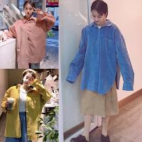 200斤胖MM加肥加大码春装韩版学院风宽松显瘦中长开衫衬衣外套