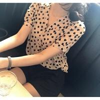 韩版宽松款薄款桃心印花女士衬衫夏季新款防晒长袖雪纺衬衣百搭 均码