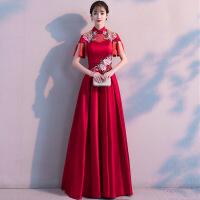 中式敬酒服2018新款冬季中国风婚礼长款新娘出阁服结婚礼服女红色 酒红色
