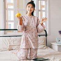 情侣睡衣女春秋款纯棉长袖睡衣男夏日式家居服套装和服可外穿薄款