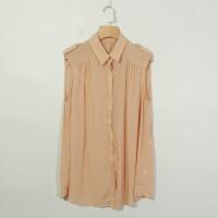 R04045女装精品夏季新款单排隐形扣宽松显瘦女纯色中长款无袖衬衫